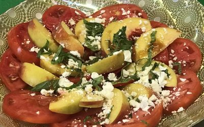 Tomato & Peach Salad with Feta & Hot Honey